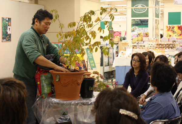 Mr.Tsukada demonstrating how to plant roses in pot.JPG